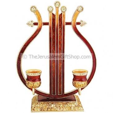 David Harp Candle Holder - Jeweled
