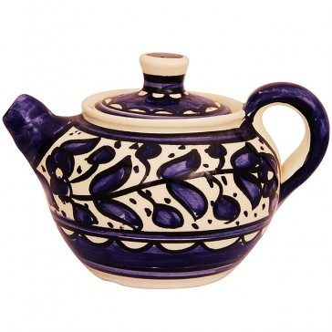 Armenian Ceramic Teapot from Jerusalem - Handmade - Blue Flower Design