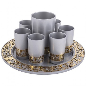 Holy Land Harvesters - Lord Supper Cup Set - Grey and Gold Pomegranate - Matching Tray
