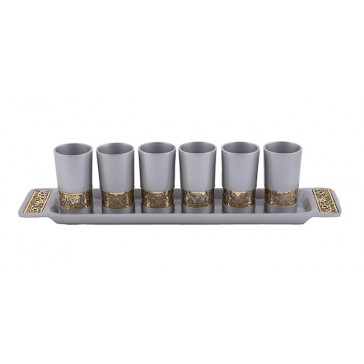 Holy Land Harvesters - Lord's Supper 6 Cup Set with Matching Tray - Pomegranate - Grey and Gold