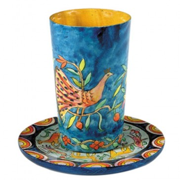 Holy Land Harvesters - Lord's Supper Cup with Saucer - Hand Painted Wood - Creation