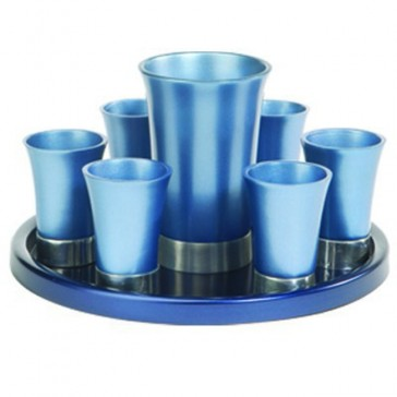 Holy Land Harvesters Anodized Aluminum 8 Piece Lord's Supper Set - Blue