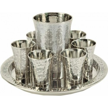 Holy Land Harvesters Hammered Nickel 8 Piece Lord's Supper Set - Silver