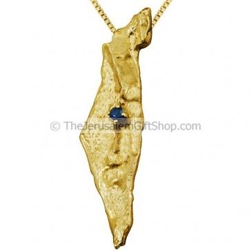 Land of Israel 14Kt Gold Sapphire Pendant