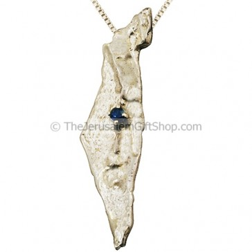 Land of Israel Silver and Sapphire Pendant