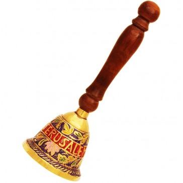 Decorated 'Jerusalem' Brass Bell with Jerusalem and Flower Design