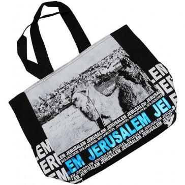 Jerusalem Camel Mount of Olives Canvas Tote Bag - Blue Foil - Zipper