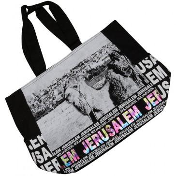 Jerusalem Camel Mount of Olives Canvas Tote Bag - Rainbow Foil - Zipper