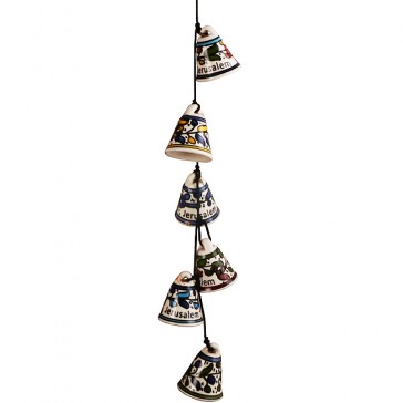 Armenian Ceramic Hanging Jerusalem Chimes - Six Bells