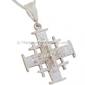 'Jerusalem Cross' 3D Pendant with Etched Star Design