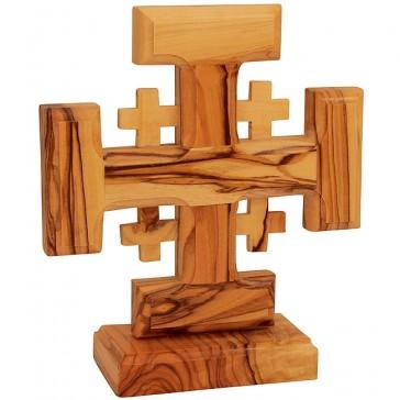 Free Standing 'Jerusalem Cross' Made in Bethlehem - Olive Wood