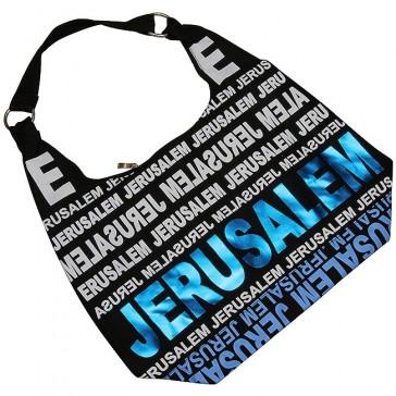 Canvas Hobo Bag - Jerusalem - Blue Foil - Zipper