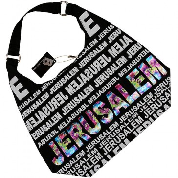 Canvas Hobo Bag - Jerusalem - Rainbow Foil - Zipper