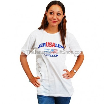 JerUSAlem Israeli American Flag T Shirt