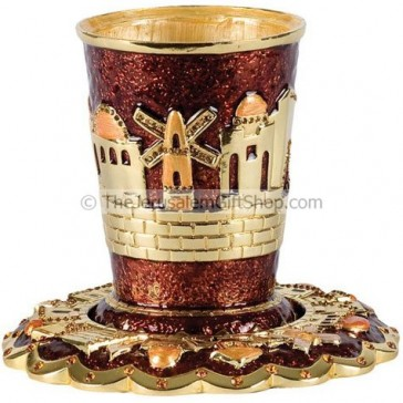 Jeweled Jerusalem Kiddush Cup with Coaster - Brown
