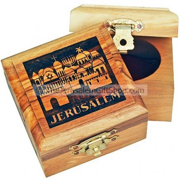 Small Olive Wood Jerusalem Silhouette Box
