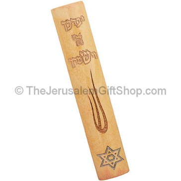 Jerusalem Stone Mezuzah with Aaronic Blessing and Shin