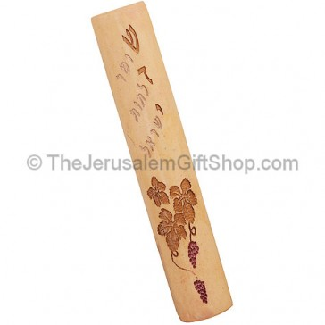 Jerusalem Stone Shaddai Mezuzah with Grape Clusters