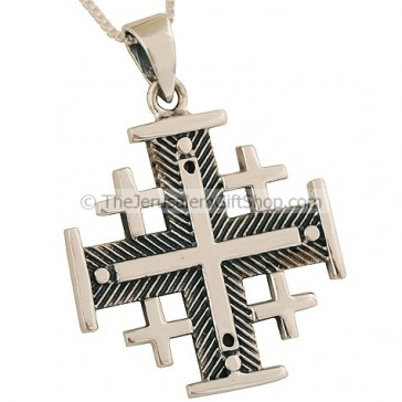 'Jerusalem Cross' Pendant with Fishbone Design