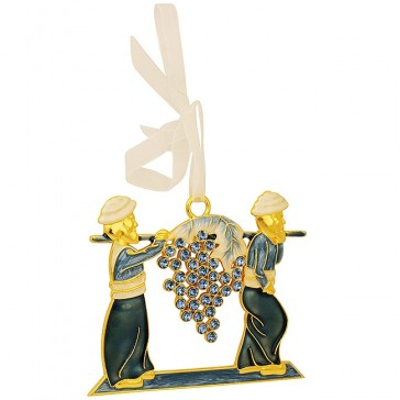 Joshua and Caleb - Fruit of the Land - Numbers 13:23 Decorative Wall Hanging - Blue Enamel with Crystals