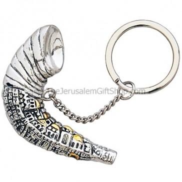 Karshi Silver Shofar Jerusalem Key Chain