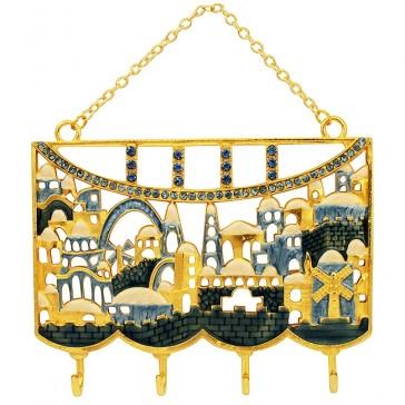 Jerusalem Old City Key Hanger Decorative Wall Hanging - Blue Enamel with Crystals