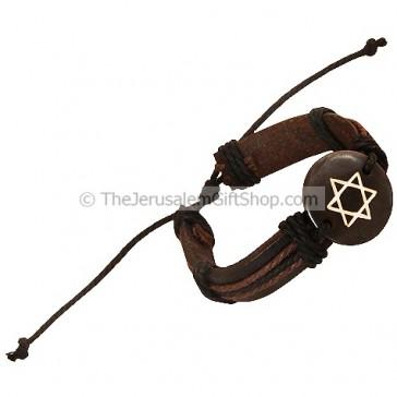 Leather Button Bracelet - Star of David