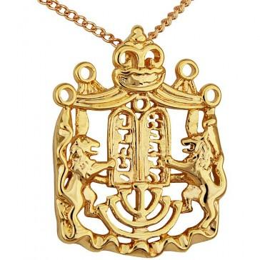 Lion of Judah Goldfil Menorah Ten Commandments & Crown Pendant