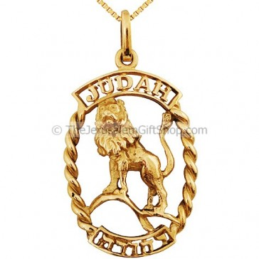 Lion of Judah 14kt Gold Hebrew Pendant