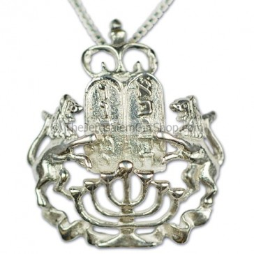 Lion of Judah Menorah Torah Pendant