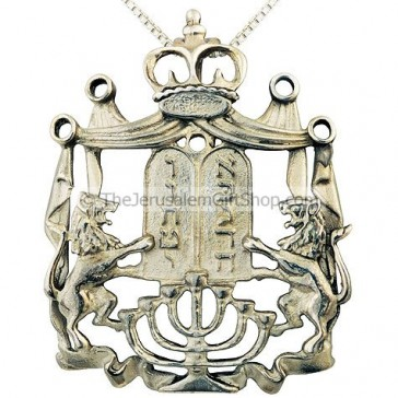 Lion of Judah Silver Menorah Ten Commandments Crown Pendant