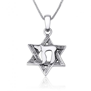 Star of David with 'Chai' Silver Pendant by Marina