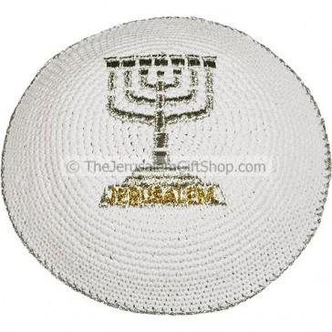 Jerusalem Menorah Silver White Kippa