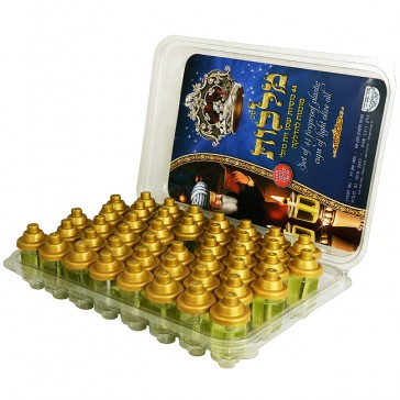 Set of 44 Filled Olive Oil Cups for Menorah