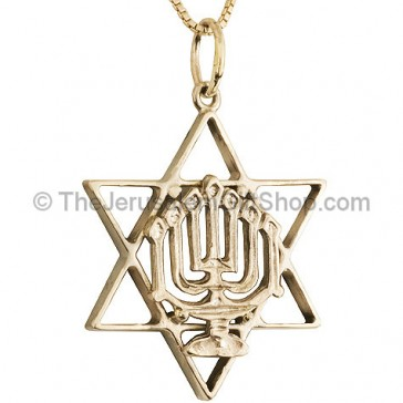 Sterling Silver Hand Made Star of David with Menorah