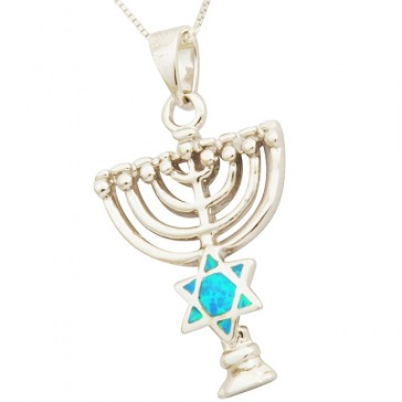 Menorah with Opal Star of David Sterling Silver Pendant