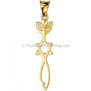 14 carat Gold Messianic Seal of Jerusalem Pendant
