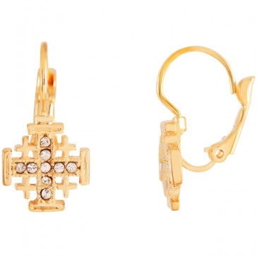 Goldfill 'Jerusalem Cross' Mini Earrings with Zircon