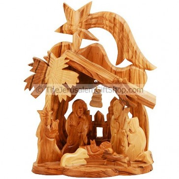 Mini Nativity Scene with Bethlehem Church and Star