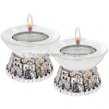 Pair of Modern Style Jerusalem Candle Holders