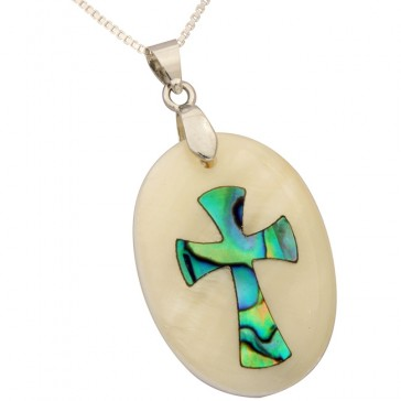 Mother of Pearl with Abalone Cross Pendant