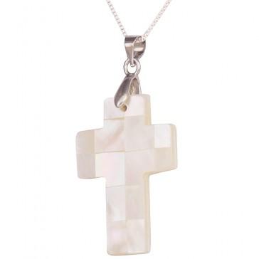 Mother of Pearl Cross Pendant - Handmade in Jerusalem - Block Design