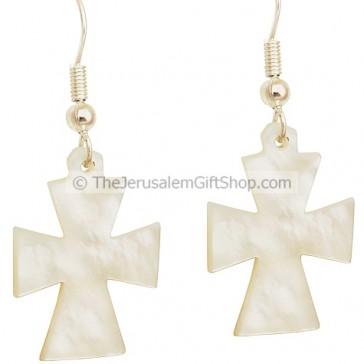 Mother of Pearl Cross Earrings