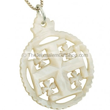 Mother of Pearl 'Jerusalem Cross' in a circle Pendant