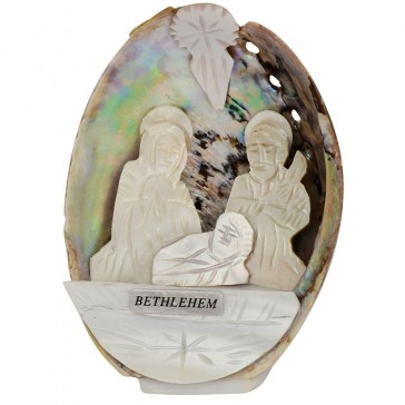 Mother of Pearl Nativity Scene inside an Abalone Shell - Made in Bethlehem