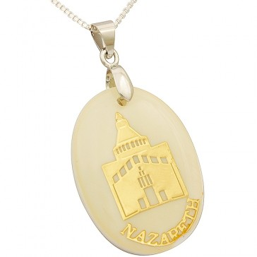 Mother of Pearl with Embedded Gold Metallic Nazareth Church of the Annunciation Pendant