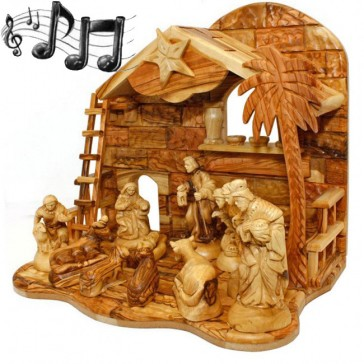 Musical Olive Wood Nativity Set from Bethlehem - Silent Night - Ladder