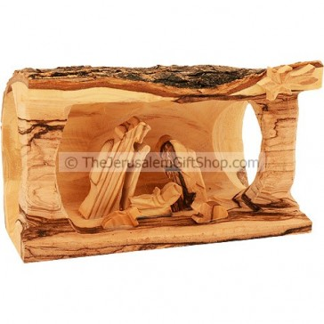 Nativity Manger Scene carved from Branch of Olive Tree