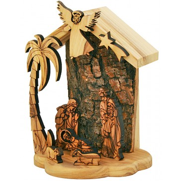 Olive Wood Nativity Scene Ornament from Bethlehem - Natural Bark Wall - 5 Inch - Boxed