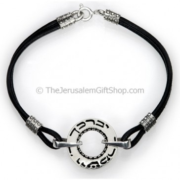 Aaronic Blessing Hebrew Leather and Sterling Silver Disc Bracelet